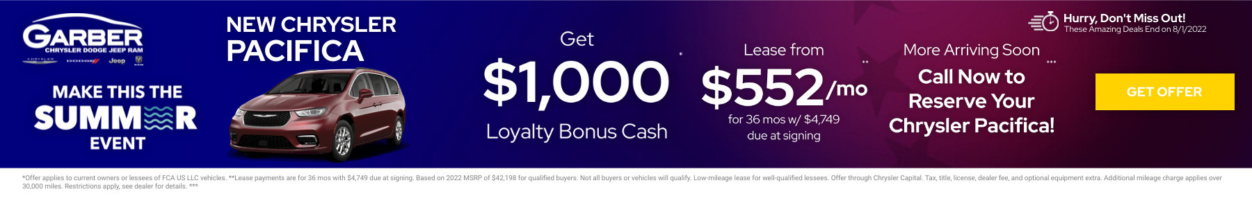 New Chrysler Pacifica Current Deals and Offers in Green Cove Springs, FL