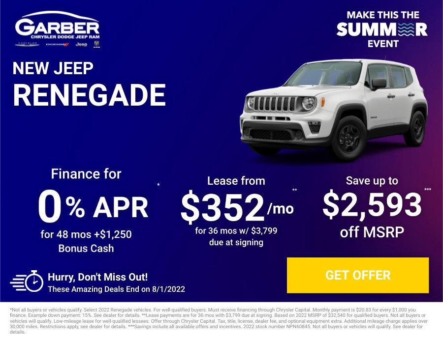 New Jeep Renegade Current Deals and Offers in Green Cove Springs, FL