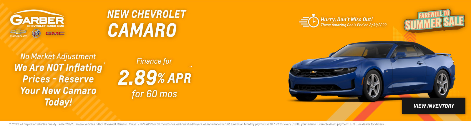 New Chevrolet Camaro Current Deals and Offers in Green Cove Springs, FL