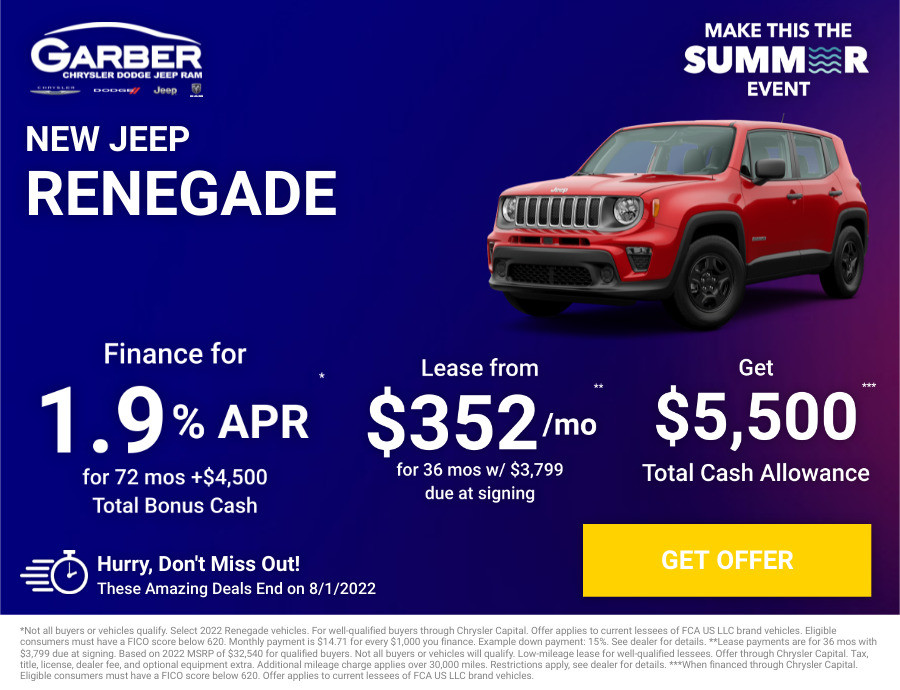 New Jeep Renegade Current Deals and Offers in Saginaw, MI