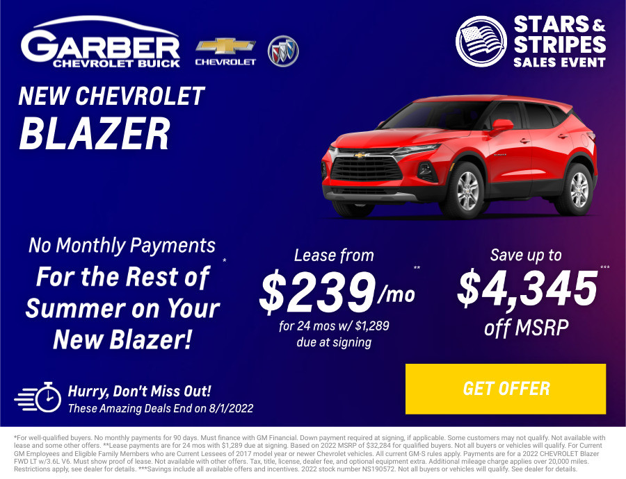 New Chevrolet Blazer Current Deals and Offers in Chesaning, MI