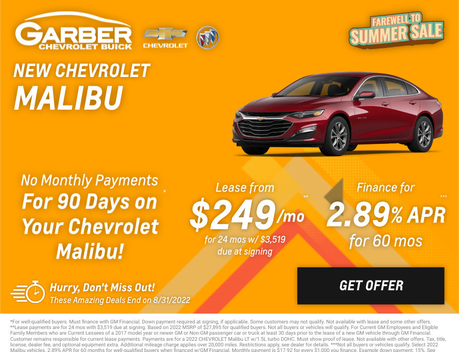 New Chevrolet Malibu Current Deals and Offers in Chesaning, MI