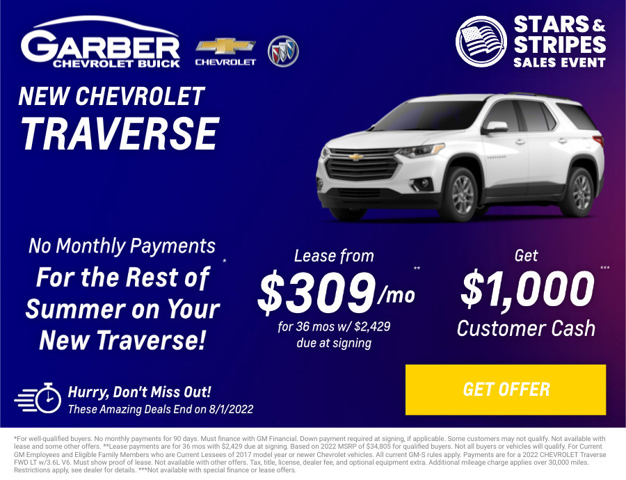 New Chevrolet Traverse Current Deals and Offers in Chesaning, MI