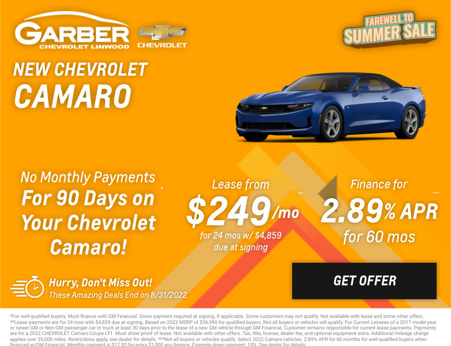 New Chevrolet Camaro Current Deals and Offers in Linwood, MI