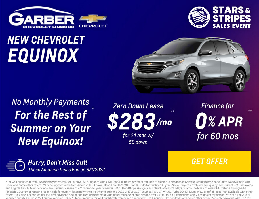 New Chevrolet Equinox Current Deals and Offers in Linwood, MI