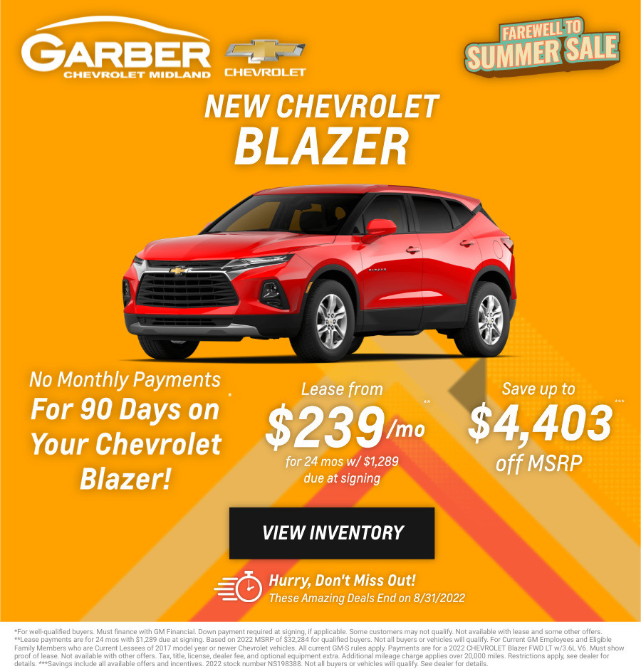 New Chevrolet Blazer Current Deals and Offers in Midland, MI