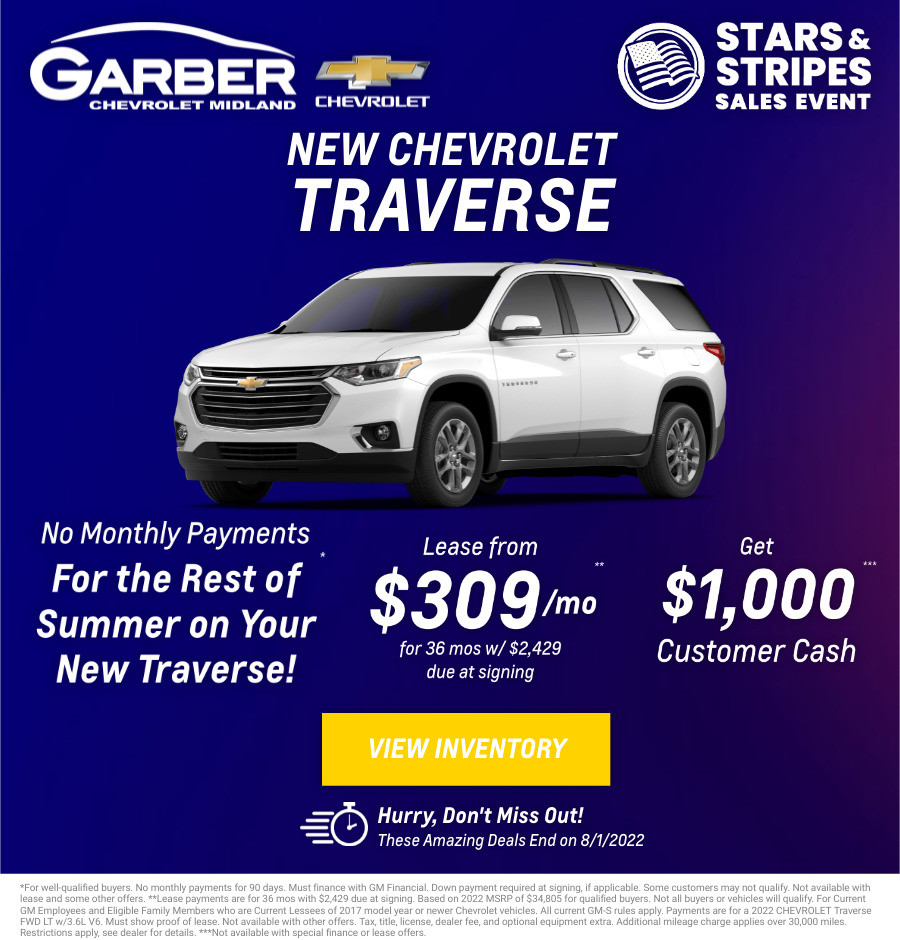 New Chevrolet Traverse Current Deals and Offers in Midland, MI