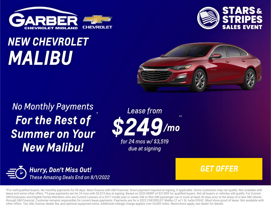 New Chevrolet Malibu Current Deals and Offers in Midland, MI