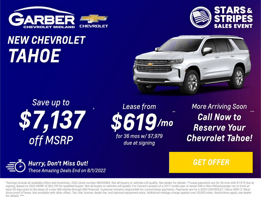 New Chevrolet tahoe Current Deals and Offers in Midland, MI
