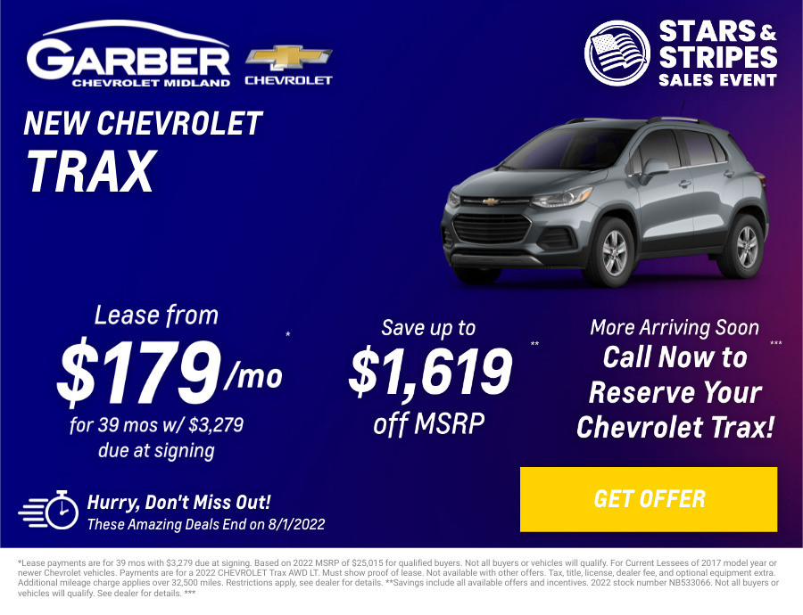 New Chevrolet Trax Current Deals and Offers in Midland, MI