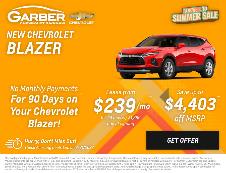 New Chevrolet Blazer Current Deals and Offers in Saginaw, MI