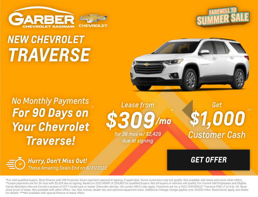 New Chevrolet Traverse Current Deals and Offers in Saginaw, MI