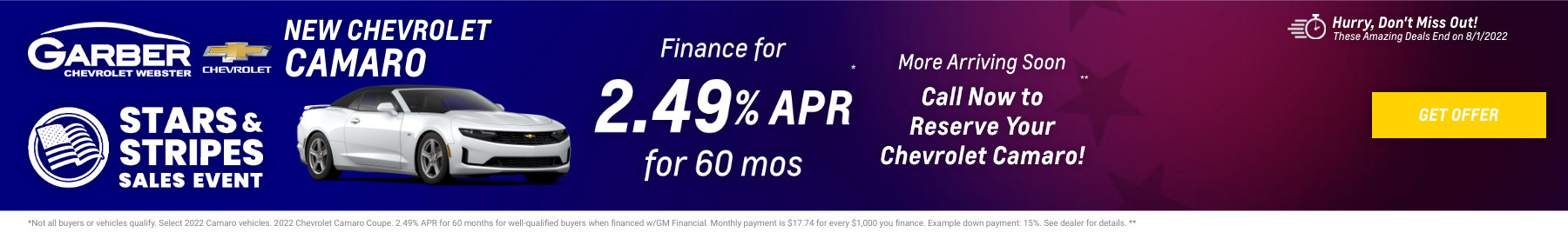 New Chevrolet Camaro Current Deals and Offers in Rochester, NY